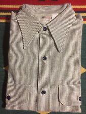 Nos 5 Brother Union Made Sanforized Denim Hickory Stripe Shirt Sz L Deadstock!
