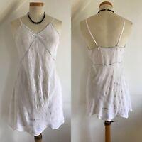 Vintage 20s Chemise Camisole Top Vest 1920s Art Deco White Silk Embroidery