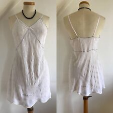 Vintage 20s Chemise Camisole Top Vest 1920s Art Deco White Silk Embroidery