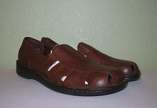 WOMENS BROWN LEATHER NATURALIZER FLATS SLIP-ON LOAFERS US 9.5 M EUR 39.5 40 40.5