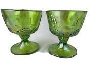 SET OF 2  VINTAGE INDIANA GLASS HARVEST GRAPE GREEN CARNIVAL GLASS