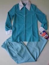 NWT VTG 70's Polyester Double Knit Shirt Pants Aqua White Sz 14 See Measurements