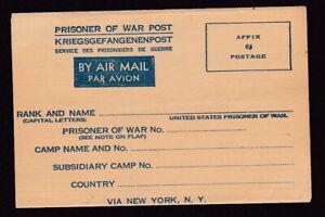 USA WW2 fine mint POW Air Mail envelope