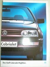 VW Golf Cabriolet Highline brochure Jan 1995 German text