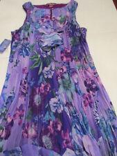 Women Rufle Keyhole Neck Sleeveless Crinkle Dress Purple Floral Argenti Size 20
