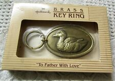 """NIB Vintage 1983 Brass Key Ring """"To Father With Love"""""""