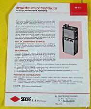Ancien Fascicules Émetteurs - Récepteurs Catalogue document vintage TW11A