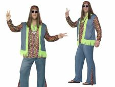 Cool Hippie Man Costume Mens 60s Fancy Dress Retro Groovy Outfit Size XL