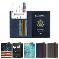 Travel Passport Holder Wallet Holder RFID Blocking Vegan Leather Card Case Cover
