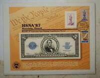 BEP souvenir card B 111 HSNA 1987 face 1923 $5 porthole Visitors center cancel