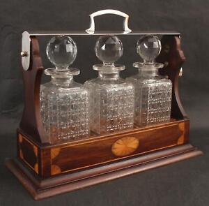 Antique Triple Inlaid Wood Carrier & Cut Glass Bottles Liquor Decanter Tantalus