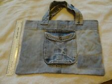 hand crafted denim bag, tote, shopper, upcycled jeans, pocket, lined