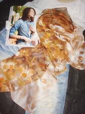 Jolie Echarpe Florale Brun en Lin Apocynum de Xinjiang 160x50cm