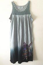 Y London Juniors Tattoo Print Tank Top Dress w/ Rhinestones • Black Gray Dip Dye