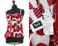 Women's DOLCE & GABBANA Sleeveless Top Shirt Blouse Floral Printed Red Size S