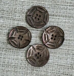 """Antique Smokey Carved Mother of Pearl 1"""" Shell Buttons Victorian MOP Lot of 4"""