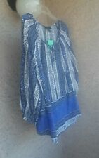 """AUTHENTIC """" FRED DAVID """" WOMEN'S PETITE BLUE & WHITE 3/4 SLEEVE SUMMER TOP PL"""