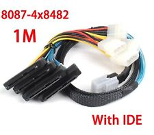 Mini 36 Pin SFF-8087 to 4 SFF-8482 29 pin with IDE SAS Power HDD Cable 1M