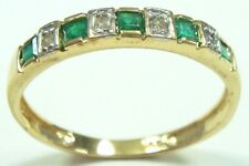 SYJEWELRYEMPIRE 10KT YELLOW GOLD NATURAL EMERALD & DIAMOND BAND RING SIZE7 R1081