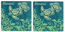 Hawaiian Sandstone Coasters Set of 2 Hawaii Sea Turtles Honus Tiki Bar Kitchen