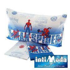 Completo Letto Marvel Spiderman Puro Cotone 100% Set Lenzuola Sopra Sotto Federa