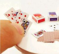 BARBIE SIZE MINIATURE PLAYING POKER CARDS MINI DECK OF CARDS 1:12 DOLLHOUSE