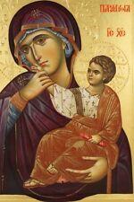 Theotokos Panagia Hand painted Eastern Orthodox Byzantine icon 22k gold leaf8040