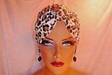 "Chemo Turban Tan Brown on White ""Leopard""  ""Something4You""  Hat  Alopecia Hijab"