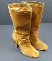 STUART WEITZMAN Tan Suede Mid-Calf Boots Sz 6.5 Western Style