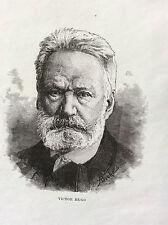 Estampe Gravure sur acier XIXe Victor Hugo Écrivain Poète Politique France