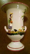 "Vintage 8"" Vase Farm Scene Numbered Italy ~ Italian Pottery"