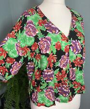 Zara Large - Black Floral Super Soft Blouse Retro Hawaiian Holiday Summer Tee