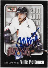 Ville Peltonen Signed 2000-01 Milwaukee Admirals Team Card #24