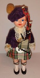 """VINTAGE Scottish 6"""" Doll Plastic Eyes open & close Bagpipes Traditional Clothes"""