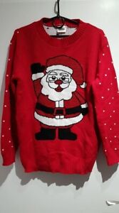 Red CHRISTMAS Womens Jumper Made in England Size S/M Santa Xmas