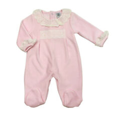 Baby Girl Clothes Spanish Romany Style  pink Lace  velour sleepsuit 0 -9 month