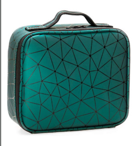 Travel Makeup Case PU Leather Professional Cosmetic Train Cases, Green, M, New