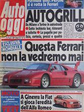 Auto Oggi n°14 1987 Poster Ferrari 156 F1 86 - Ferrari GTO Evoluzione  [SC.7B]