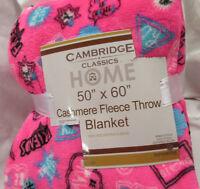 "NEW Plush CASHMERE Slogan THROW Blanket Cambridge Super Soft Cozy 50"" x 60"""