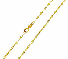 "14K Real Yellow Gold 2mm Twisted Mirror Chain Necklace 20"" Inches for Women"