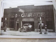1930 'S FORD MODEL A AT OLD FORD GARAGE GAS PUMPS  11 X 17  PHOTO   PICTURE
