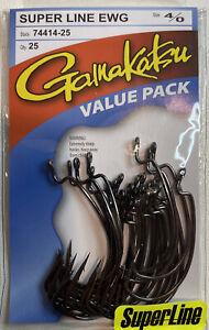 Gamakatsu Super Line Ewg NS Black Hook Size 4/0 25 Per Pack 74414-25
