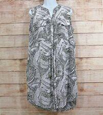 H&M Smart Sleeveless Dress sz 14 Tile Snakeskin Pattern Button Front Drawstring