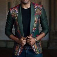 Fall New African Men's Fashion Dashiki Cardigan Jacket Long Sleeve Printed Coat