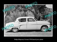 OLD LARGE HISTORIC PHOTO OF DODGE KINGSWAY CORONET 1956 LAUNCH PRESS PHOTO