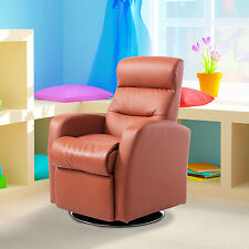 HOMCOM Brown Sofa Lying Kids Recliner PU Leather Lazy Boy Armchair Furniture