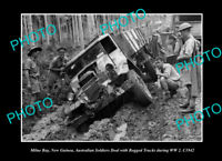 OLD LARGE HISTORIC PHOTO MILNE BAY PNG AUSTRALIAN TROOPS BOGGED IN WWII c1942