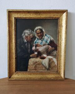 Großeltern mit Enkelkind  ...° FRANZ NECHUTNY °... Ölgemälde auf Holz signiert