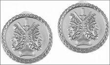 "Etruscan Double-Headed Janus Clip Earrings, Silver Plated Pewter & Brass 0.75"""