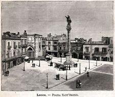 Lecce: Piazza Sant'Oronzo. Salento. Puglia. Stampa Antica + Passepartout. 1891
